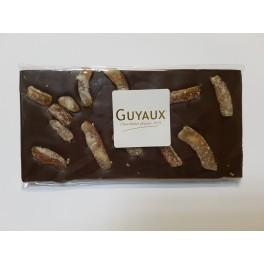 TABLETTE 200g CHOCOLAT NOIR  ET CUBES D'ECORCES D'ORANGE CONFITS - Poids net : 200g